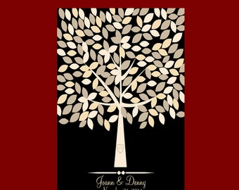 Wedding Signature Tree, Guestbook Alternative, Guest Signature Tree Poster, 18x24 Print with 175 Leaves, Black and White Wedding Decor