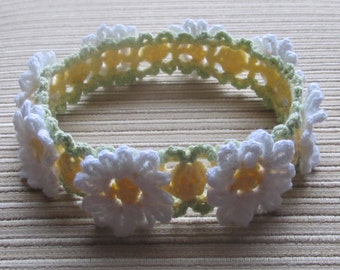 Instant Download Crochet Pattern #101 White and Yellow Daisies  Headband for a Girl