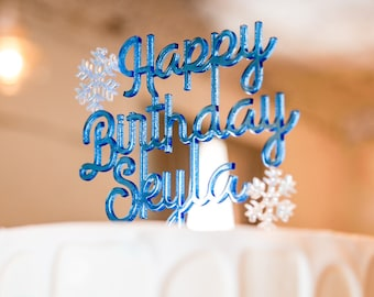 Custom Frozen Themed Acrylic Cake Topper | Personalized Birthday Cake Topper