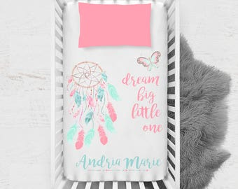 Dream Big Little One / Personalized Baby Blanket /Dreamcatcher / crib blanket / 30x40 / Baby Blanket / Pastel / Pink / Aqua /