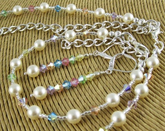 Everyday Elegance Lady Sansa Pastel three piece Swarovski crystal and pearl set includes necklace bracelet and earrings