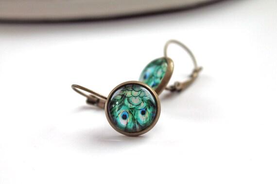 Pretty bird peacock earrings sweet lolita feminine leverback green blue
