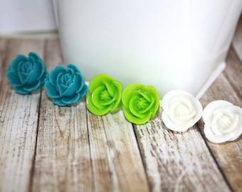 Flower Post Earrings, Set of Three, Post Earrings, Gift Set, Gift, Gift for Her, Spring Jewelry, Summer Earrings
