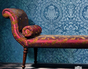 Large Bohemian Floral Wall Stencil Pattern for Painting Custom Vintage Damask Wallpaper Design