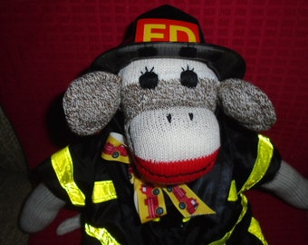 Firefighter Classic Brown Red Heel Sock Monkey Doll