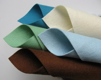 100% Wool, Felt Fabric Set, Sea Glass Color Story, Felt Squares, Beach, Vacation, Seaside, Bottle Green, Dark Brown, Ocean Blue, Aquamarine