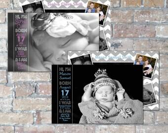 Hi Birth Announcement {Boy or Girl} {Digital Item}