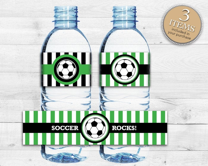 Instant Download Soccer Bottle Labels Printable Soccer Water
