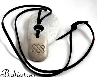Celtic heart. Baltic beach stone necklace. Symbol of eternal love. Connectedness of people