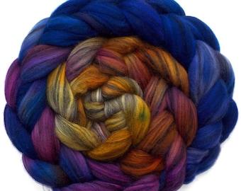 Roving Hand Dyed Merino Silk Swirl Combed Top - Sultan, 5.1 oz.
