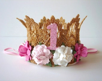 First Birthday Crown Number One - Number 1 - Gold Crown - Pink Flowers - Ivory Flowers - Mini Crown - Baby Crown - Cake Smash