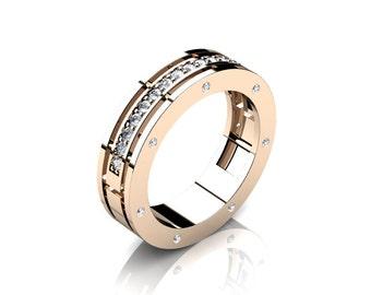 Caravaggio Ladies 14K Rose Gold Diamond Wedding Band G1001F-14KRGD