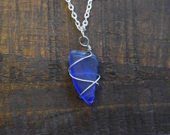 Blue Sea Glass Spiral Necklace