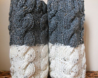 Hand Knitted Boot Cuffs Leg Warmers 2in1 Grey and CreamTweed