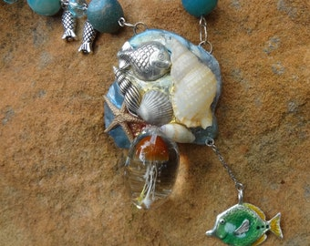 Jelly Fish Necklace—Sterling Silver--Ocean that goes anywhere