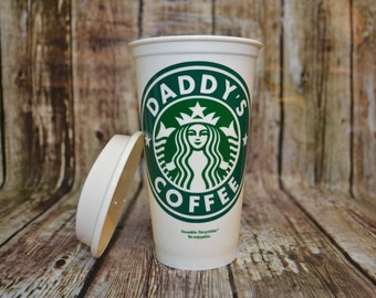Daddy's Coffee Cup • Grandpa's Coffee Mug • Dad's Tumbler • Travel Mug (Genuine Starbucks Reusable + Bonus) [father's day gift for dad idea]