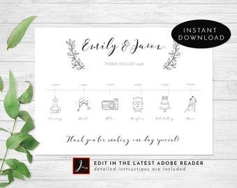 floral wedding program template etsy