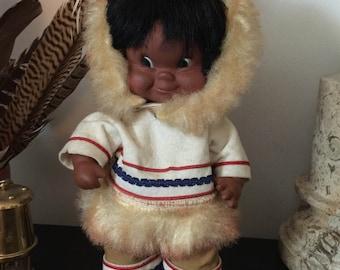 Vintage 1960s Mid Century Eskimo Canadian Indian Inuit Doll