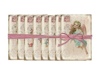 Digital Vintage Cherubs, ATC Valentine Sheet, French Graphics, Shabby Valentine Printable Download