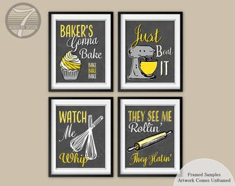 Funny Kitchen Art Print Set of 4, Kitchen Decor, Bakers Cupcake Whisk Rolling Pin Mixer, See Me Rollin, Just Beat It, Grey Yellow, Unframed