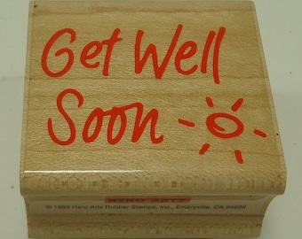 Get Well Soon Wood Mounted Rubber Stamp From Hero Arts B-477