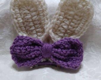 Crocheted Bunny Hair Barrette / hair clip