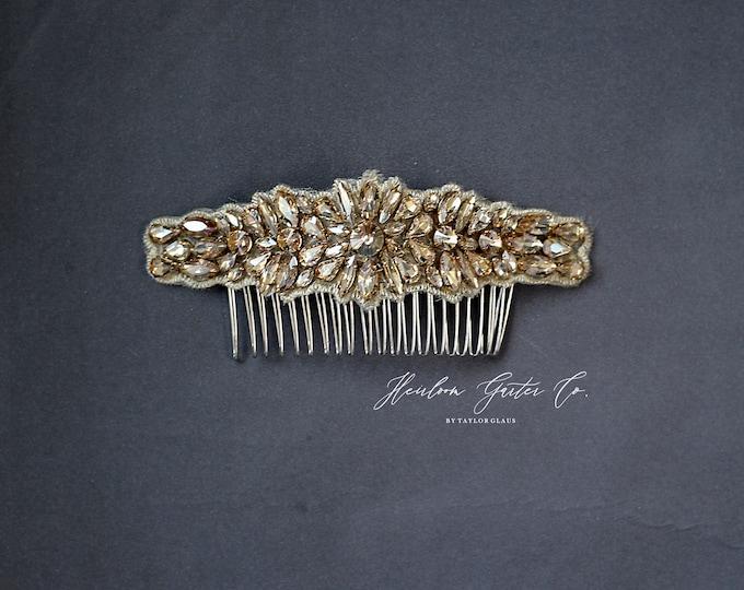 Gold Wedding Hair Comb, Pearl and Rhinestone, Bridal Headpiece, Rhinestone Hairpiece, Hair Jewelry, Bridesmaid, Hair Accessory, 64G