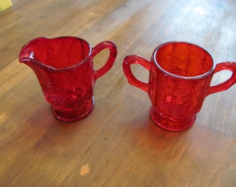 Vintage Ruby Red Pressed Glass Sugar And Creamer Set