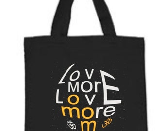 "Cotton Canvas Tote Bag Style 860 with LoveMORELOVEmore yoga print. Size 15"" x 15"" with 22"" handles"