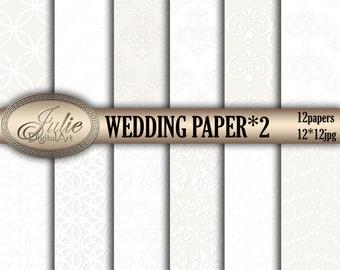 Wedding digital papers White digital paper White damask backgrounds White pattern Wedding background Damask digital paper White background