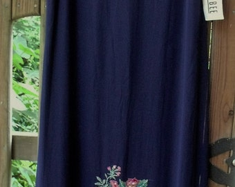 Silk Dress with Roses and Sequins/ Navy silk Dress by Robbie Bee/ Retro Embellished Sheath/ Shabbyfab Funwear