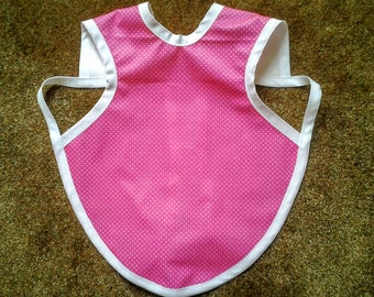 Waterproof Bapron / The Baby Apron / Bib / Smock - 24 months - 3T, Hot Pink with White Pindots