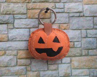Leather Keychain, Halloween Keychain, Leather Key Chain, Pumpki Halloween Keychain, Bag Charm, Leather Charm, Leather Bag Charm, Halloween