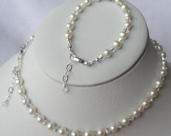 Sterling Silver Freshwater Pearl and Swarovski Crystal Children Bracelet and Necklace -SET, Flower Girls SET, First Communion