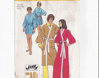 Simplicity 5685 Pattern for Misses' Jiffy Kimono Robe in 2 Lengths, Size 14, UNCUT, From 1973, Vintage Home Fashion Sewing, Easy Cut Sew