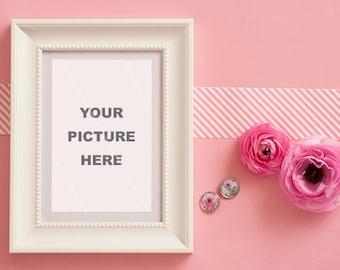Pink Ranunculus with frame  - INSTANT DOWNLOAD - Styled Stock - Styled photography - Photography - Ranunculus Photography - Frame - Stock