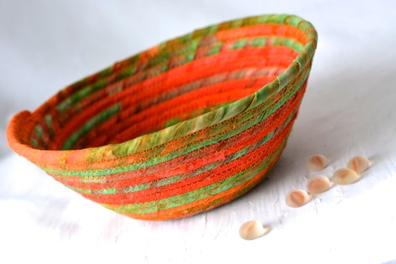 Boho Rope Basket, Handmade Orange Batik Bowl, Candy Dish, Halloween Fall Decoration, Rustic Chic Fabric Bowl, Coiled Change Bowl