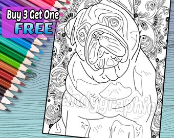 Precious Pug - Adult Coloring Book Page - Printable Instant Download