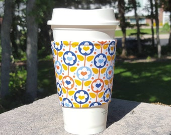 FREE SHIPPING UPGRADE with minimum -  Fabric coffee cozy / cup sleeve / coffee sleeve  / teacher gift / Bright Fun Heart Flowers