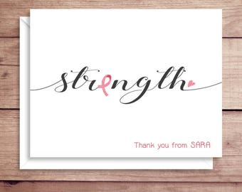 Strength Note Cards - Pink Ribbon Note Cards - Cancer Note Cards - Cancer Thank You Notes - Folded Note Cards