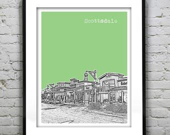 Scottsdale Arizona Downtown Poster Print Art Skyline Version 3