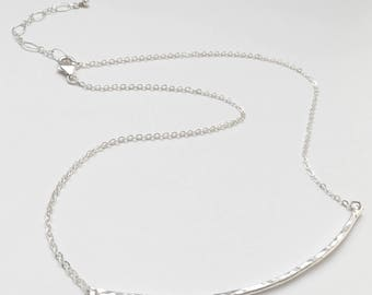 Hammered Skinny Bar Necklace - Silver Horizontal Bar Necklace - Everyday Sterling Silver Jewelry