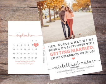 Save the Date Postcard, Save-the-Date Card, Calendar, Photo, DIY Printable, Digital File – Mickell