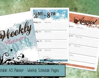 PRINTABLE Seasons 2018 A5 Planner Week on 2-Pages Dated Schedule Inserts