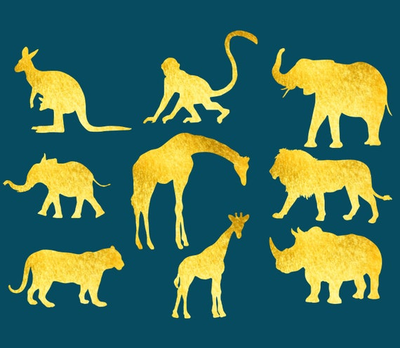 Gold Safari Clipart (12x12 inches) to Use in All your Projects