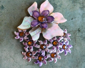 Vintage Sandor Sterling Silver and Enamel Brooch w/ Gold Rhinestones and Mother-of-Pearl - Very Large Flower w/ Smaller Flowers - Purple