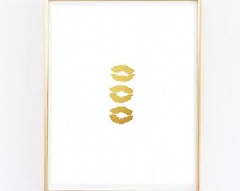 Gold Lips Three Kisses Fashion Art Print Sale - Fashion Wall Art - Gallery Wall Art Prints - Gold Office Wall Art - Gold Lips Kiss Art Print
