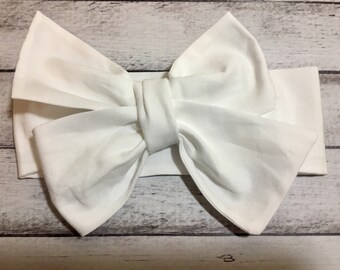 TIED, White Headwrap, Baby Headwrap, Toddler Headwrap, Headband, Big Bow Headwrap, Turban Headwrap, Infant Headwrap, Baby Girl Headwrap