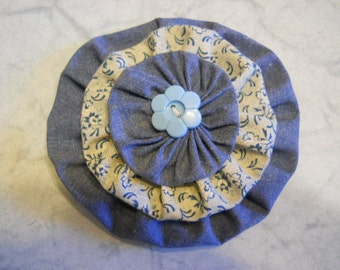 Fabric Flower Pin, Fabric Brooch, Flower Hair Clip, Denim Look Flower Pin, Purse Decoration, Curtain Decor, Birthday Gift, Mothers Day Gift