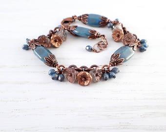 Flower Bead Cluster Bracelet - Antique Copper and Blue Teal Czech Glass - Vintage Style Artistic Nature Jewelry - Custom Length Bracelet